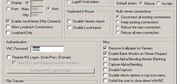Windows Server Configuration Dialog