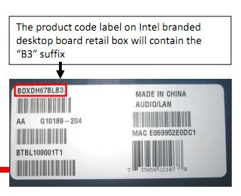 Intel 6 Series B3 Product Codes