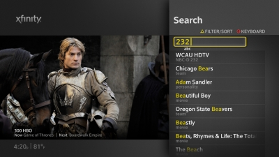 Comcast X1 Search